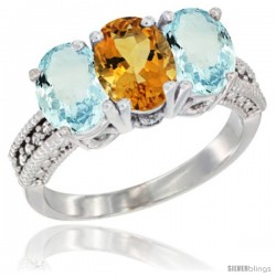 14K White Gold Natural Citrine & Aquamarine Sides Ring 3-Stone Oval 7x5 mm Diamond Accent