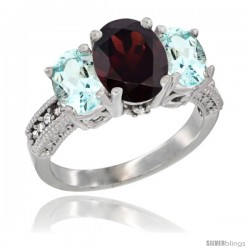 14K White Gold Ladies 3-Stone Oval Natural Garnet Ring with Aquamarine Sides Diamond Accent