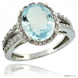 14k White Gold Diamond Halo Aquamarine Ring 3 Carat Oval Shape 11X9 mm, 7/16 in (11mm) wide