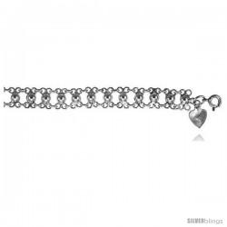 Sterling Silver Charm Bracelet w/ Beads -Style 6cb457