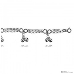 Sterling Silver Charm Bracelet w/ Dangling Clustered Chime Balls