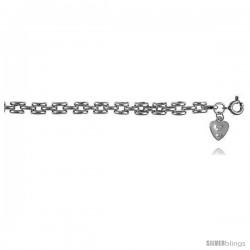 Sterling Silver Charm Panther Link Bracelet