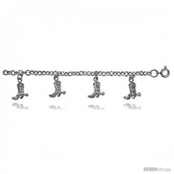 Sterling Silver Rolo Link Anklet w/ Boot Charms