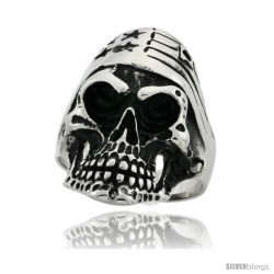 Surgical Steel Biker Skull Ring with American Flag Bandana 1 5/16 in wide