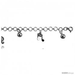 Sterling Silver Charm Bracelet w/ Dangling Musical Notes and Chime Balls