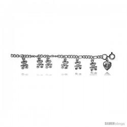 Sterling Silver Charm Bracelet w/ Dangling Teddy Bears