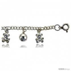 Sterling Silver Charm Bracelet w/ Dangling Teddy Bears and Chime Balls