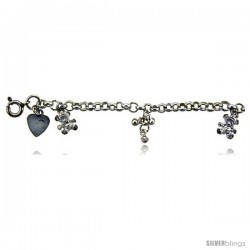 Sterling Silver Charm Bracelet w/ Dangling Teddy Bears and Clustered Beads