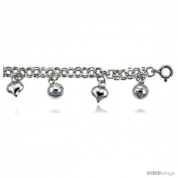 Sterling Silver Charm Anklet w/ Hearts and Chime Balls