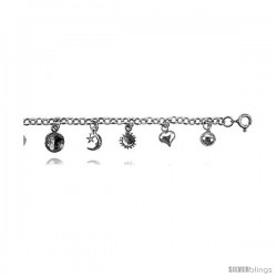 Sterling Silver Charm Bracelet w/ Hearts, Star and Crescent Moon