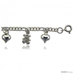 Sterling Silver Charm Bracelet w/ Hearts and Teddy Bears