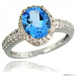 Sterling Silver Diamond Natural Swiss Blue Topaz Ring Oval Stone 9x7 mm 1.76 ct 1/2 in wide