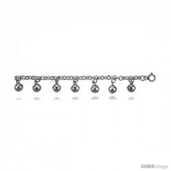 Sterling Silver Charm Bracelet w/ Chime Balls -Style 6cb499