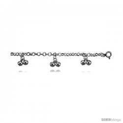 Sterling Silver Anklet w/ Clustered Double Chime Balls