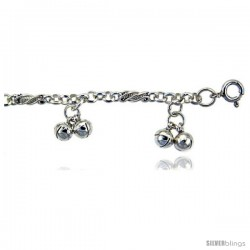 Sterling Silver Anklet w/ Clustered Double Chime Balls -Style 6cb502a