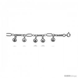 Sterling Silver Charm Bracelet w/ Chime Balls -Style 6cb503