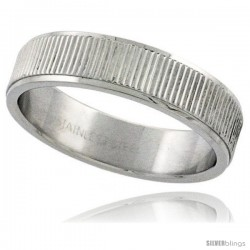 Surgical Steel 6mm Wedding Band Ring Coin Edge Finish