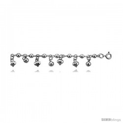 Sterling Silver Charm Bracelet w/ Beads and Chime Balls and Hearts