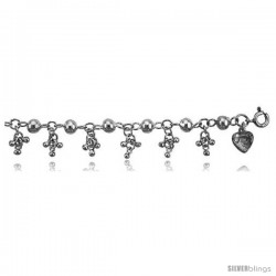 Sterling Silver Charm Bracelet w/ Clustered Teeny Beads