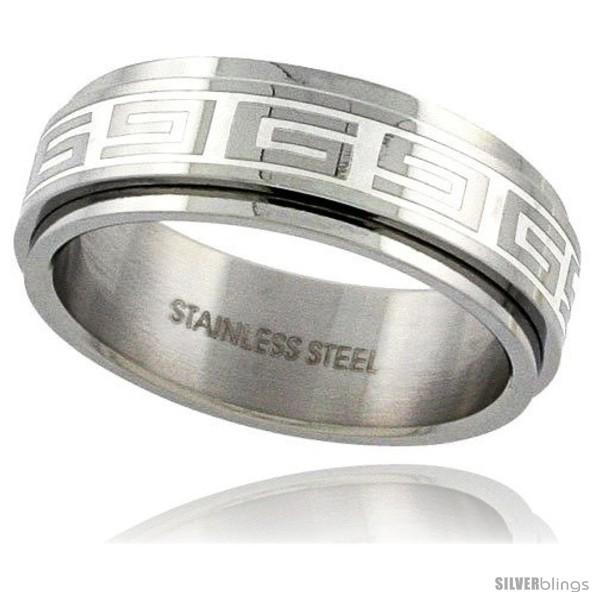 Surgical Steel Greek Key Spinner Ring 8mm Wedding Band SilverBlings