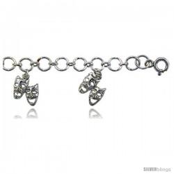 Sterling Silver Charm Bracelet w/ Drama Masks (Comedy Tragedy) -Style 6cb512