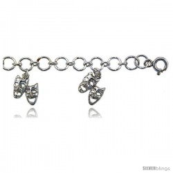 Sterling Silver Comedy Tragedy Charm Anklet -Style 6cb512a