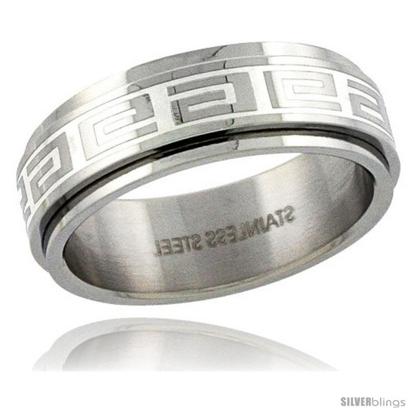 Surgical Steel Greek Key Spinner Ring 8mm Wedding Band