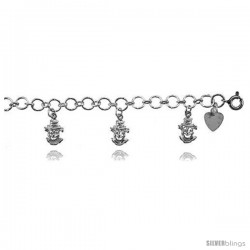 Sterling Silver Clown Charm Bracelet
