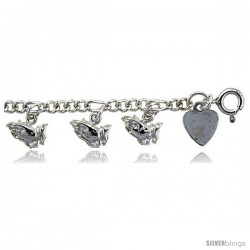 Sterling Silver Praying Hands Charm Bracelet