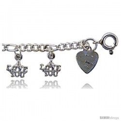 """Sterling Silver """"I LOVE YOU"""" Charm Anklet"""