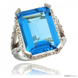 Sterling Silver Diamond Natural Swiss Blue Topaz Ring 14.96 ct Emerald Shape 18x13 Stone 13/16 in wide