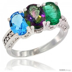 14K White Gold Natural Swiss Blue Topaz, Mystic Topaz & Emerald Ring 3-Stone 7x5 mm Oval Diamond Accent