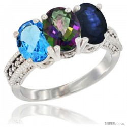 14K White Gold Natural Swiss Blue Topaz, Mystic Topaz & Blue Sapphire Ring 3-Stone 7x5 mm Oval Diamond Accent