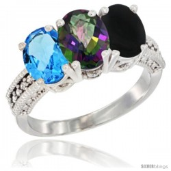 14K White Gold Natural Swiss Blue Topaz, Mystic Topaz & Black Onyx Ring 3-Stone 7x5 mm Oval Diamond Accent