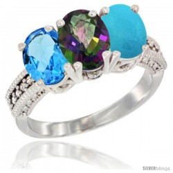 14K White Gold Natural Swiss Blue Topaz, Mystic Topaz & Turquoise Ring 3-Stone 7x5 mm Oval Diamond Accent