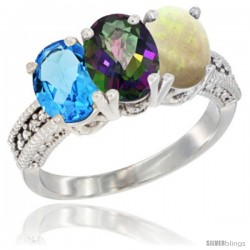 14K White Gold Natural Swiss Blue Topaz, Mystic Topaz & Opal Ring 3-Stone 7x5 mm Oval Diamond Accent