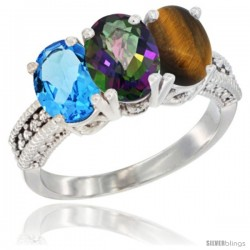 14K White Gold Natural Swiss Blue Topaz, Mystic Topaz & Tiger Eye Ring 3-Stone 7x5 mm Oval Diamond Accent