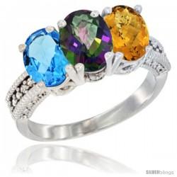 14K White Gold Natural Swiss Blue Topaz, Mystic Topaz & Whisky Quartz Ring 3-Stone 7x5 mm Oval Diamond Accent