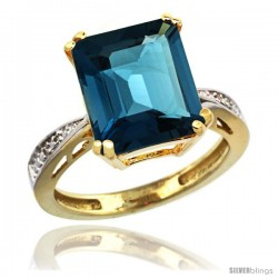 10k Yellow Gold Diamond London Blue Topaz Ring 5.83 ct Emerald Shape 12x10 Stone 1/2 in wide -Style Cy905149
