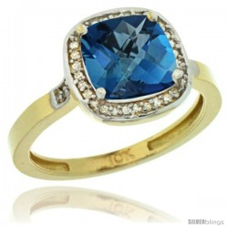 10k Yellow Gold Diamond London Blue Topaz Ring 2.08 ct Checkerboard Cushion 8mm Stone 1/2.08 in wide