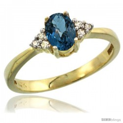 10k Yellow Gold Ladies Natural London Blue Topaz Ring oval 6x4 Stone