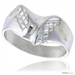 Sterling Silver Freeform Ring Polished finish 3/8 in wide -Style Ffr559
