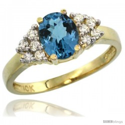 10k Yellow Gold Ladies Natural London Blue Topaz Ring oval 8x6 Stone