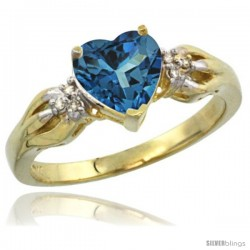 10k Yellow Gold Ladies Natural London Blue Topaz Ring Heart 1.5 ct. 7x7 Stone