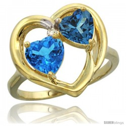 14k Yellow Gold 2-Stone Heart Ring 6mm Natural Swiss Blue & London Blue Topaz Diamond Accent
