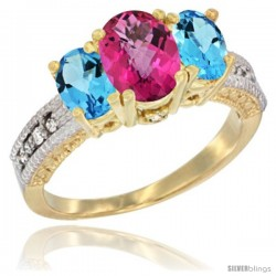 14k Yellow Gold Ladies Oval Natural Pink Topaz 3-Stone Ring with Swiss Blue Topaz Sides Diamond Accent