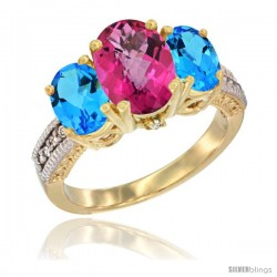 14K Yellow Gold Ladies 3-Stone Oval Natural Pink Topaz Ring with Swiss Blue Topaz Sides Diamond Accent