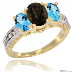14k Yellow Gold Ladies Oval Natural Smoky Topaz 3-Stone Ring with Swiss Blue Topaz Sides Diamond Accent