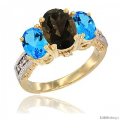 14K Yellow Gold Ladies 3-Stone Oval Natural Smoky Topaz Ring with Swiss Blue Topaz Sides Diamond Accent
