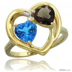 14k Yellow Gold 2-Stone Heart Ring 6mm Natural Swiss Blue & Smoky Topaz Diamond Accent
